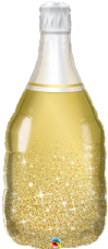 Gold Champange Sparkley Bottle Super Shape Foil Balloon